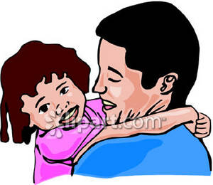 300x260 Dad Hugging His Daughter Clipart Picture