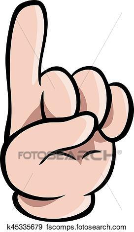 272x470 Clip Art Of Human Cartoon Hand Showing One Finger K45335679