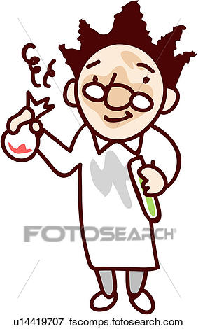283x470 Clip Art Of Beaker, Scientist, Flask, Holding, Lab Coat, Human