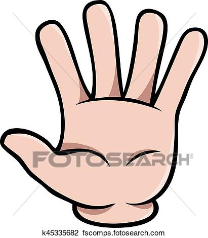 411x470 Clipart Of Human Cartoon Hand Showing Five Fingers K45335682