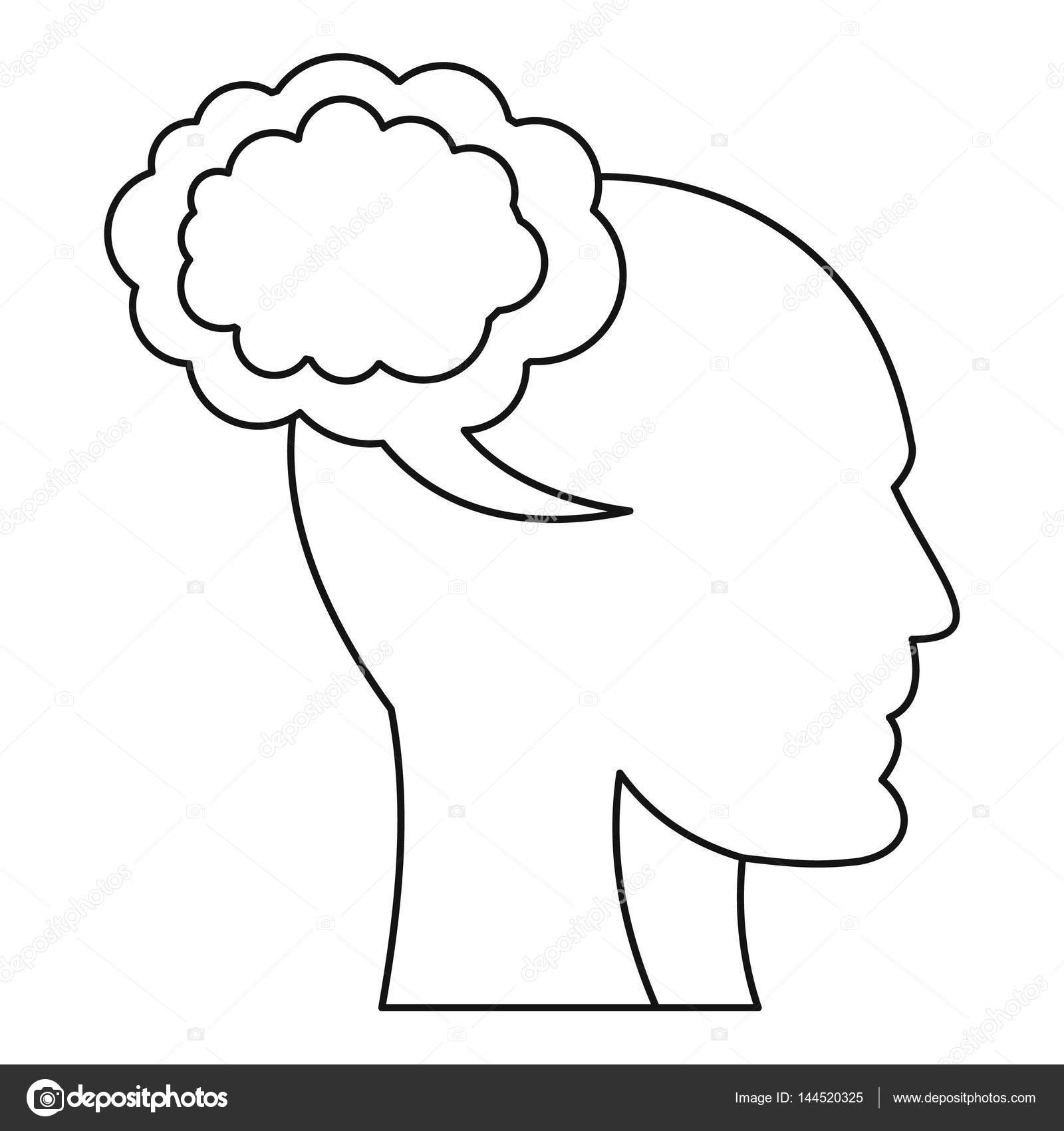1600x1700 Cloud And Human Head Icon, Outline Style Stock Vector