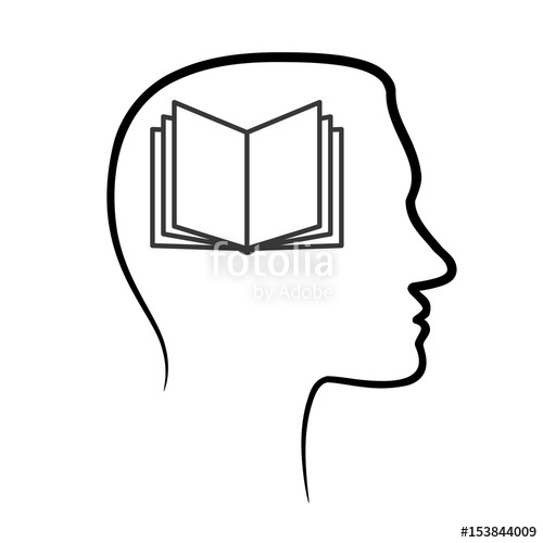 500x500 Outline Design Icon With Human Head, Brain And Open Book. Abstract