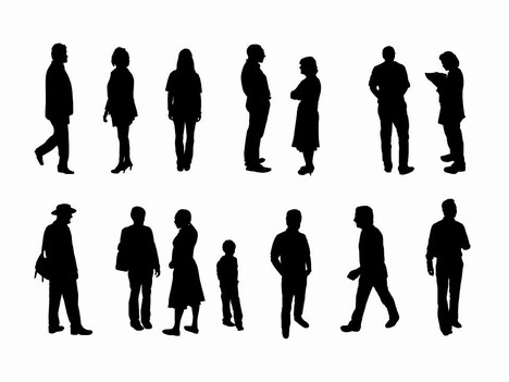 468x351 Full Length People Silhouette Outlines
