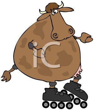 299x350 A Humerous Clip Art Illustration Of A Cow Wearing Roller Skates