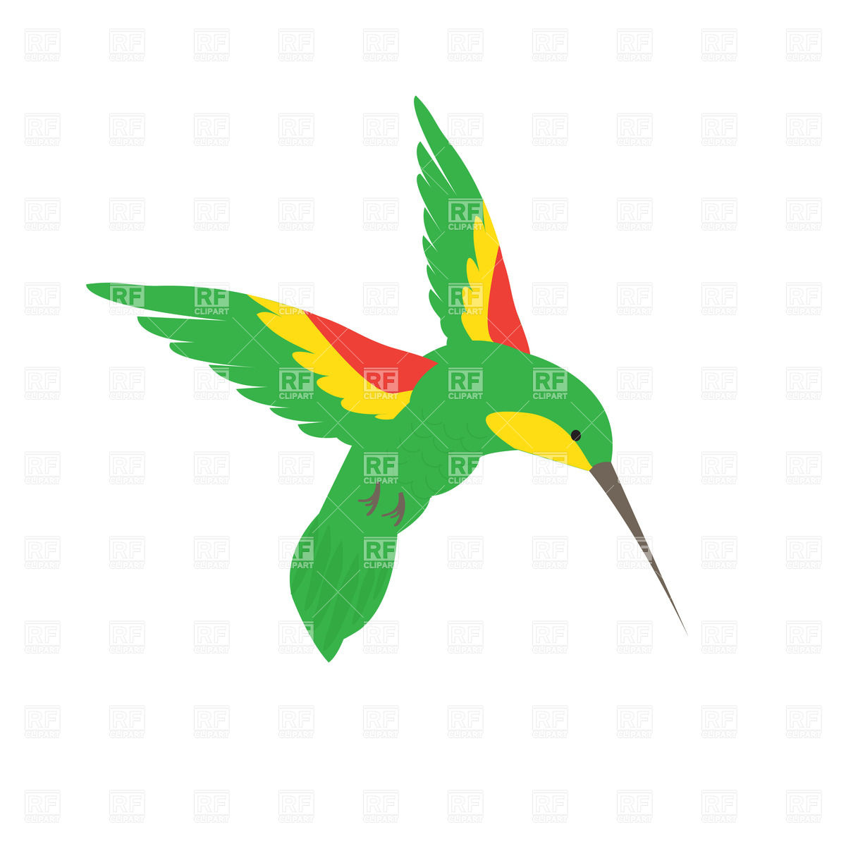 1200x1200 Flying Green Hummingbird Royalty Free Vector Clip Art Image