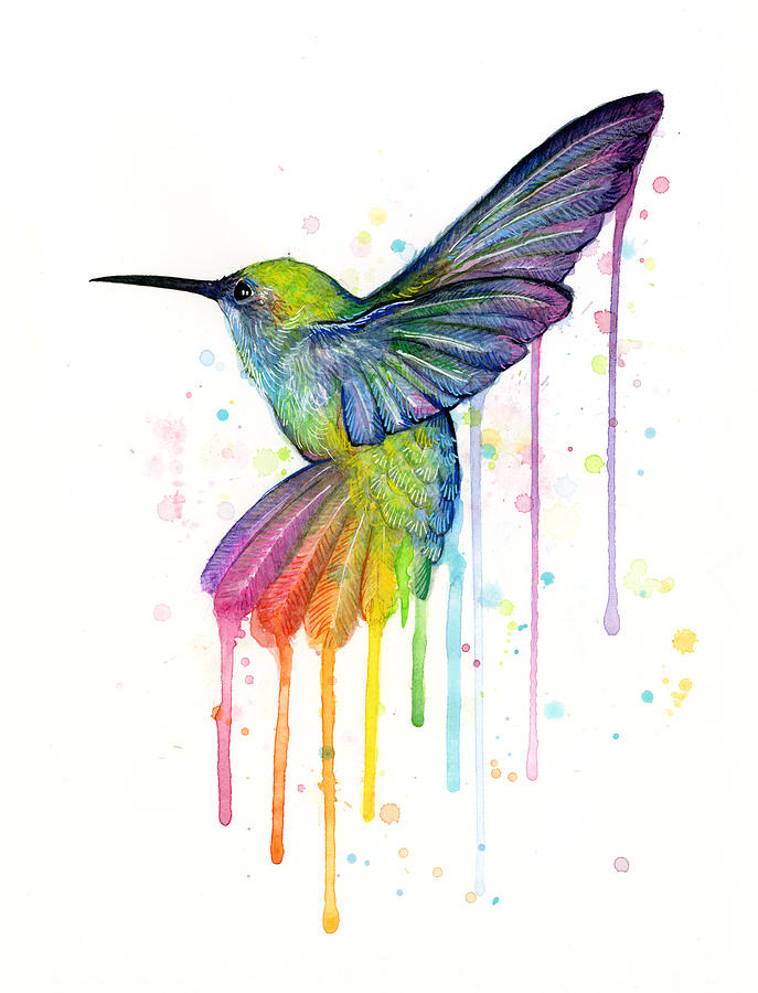 687x900 Hummingbird Of Watercolor Rainbow Painting By Olga Shvartsur