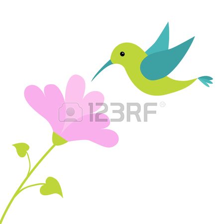 450x450 Flying Colibri Bird And Heart Flower. Cute Cartoon Character