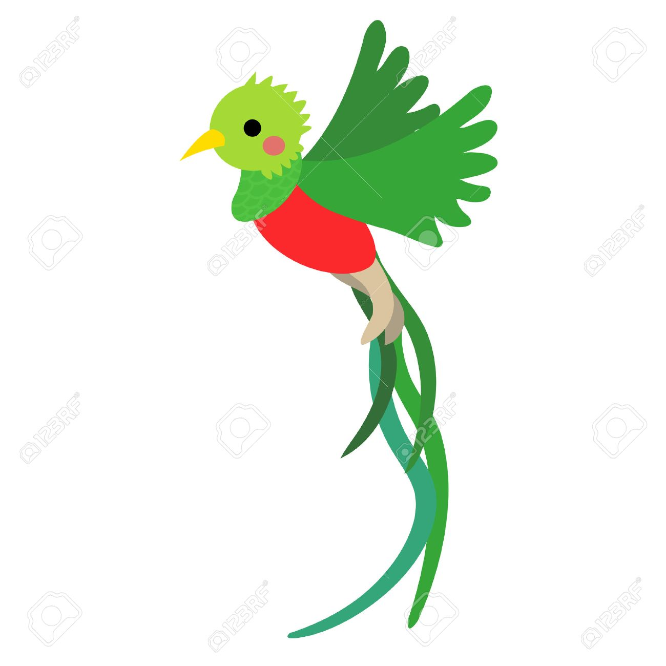 1300x1300 Flying Quetzal Bird Animal Cartoon Character. Isolated On White