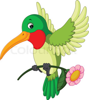284x320 Vector Illustration Of Cartoon Funny Kolibri Flying Stock Vector