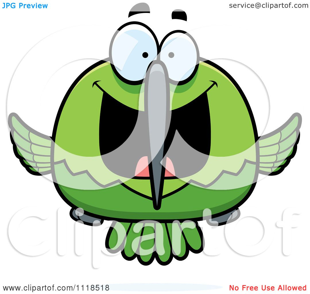 1080x1024 Cartoon Of An Excited Green Hummingbird