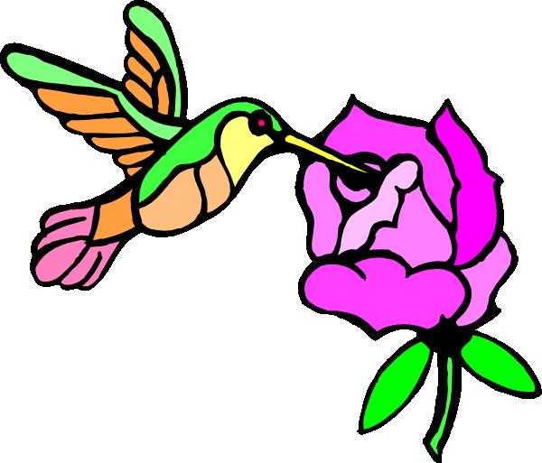 600x513 Hummingbird With Flower Clip Art