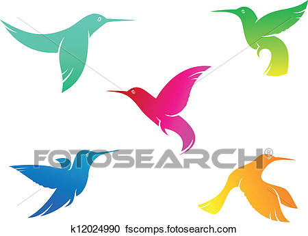 450x345 Clipart Of Flying Color Hummingbirds K12024990