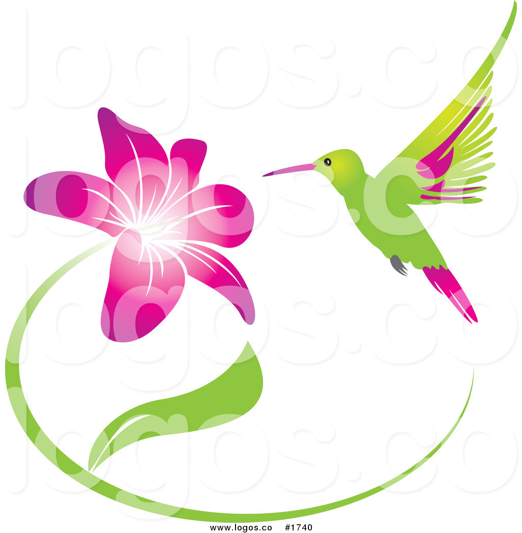 1024x1044 Royalty Free Humming Bird And Pink And Purple Flower Logo By