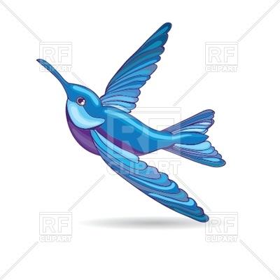 400x400 Blue Hummingbird Royalty Free Vector Clip Art Image