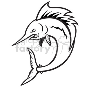 300x300 Royalty Free Black And White Sailfish Jumping Cartoon 388133