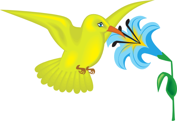 600x410 Yellow Hummingbird With Flower Clip Art