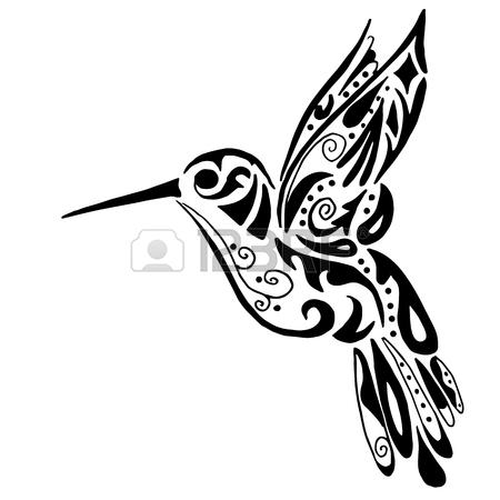 450x450 Hummingbird Sketch Hand Drawing. Colibri Vector Illustration