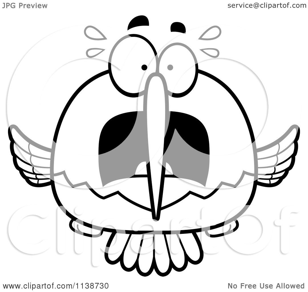 1080x1024 Cartoon Clipart Of A Black And White Frightened Hummingbird