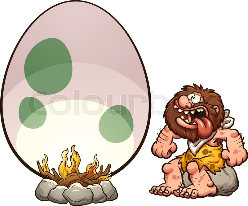 800x665 Hungry Cartoon Caveman Cooking A Giant Egg. Vector Clip Art