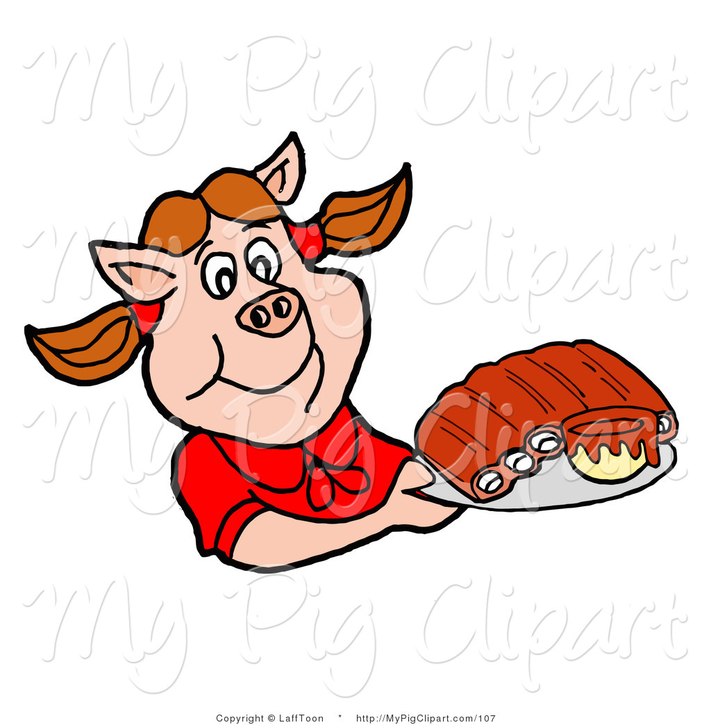 1024x1044 Swine Clipart Of A Hungry Pig Girl In A Red Shirt, Holding A Tray