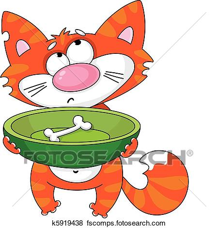 450x470 Clip Art Of Hungry Cat K5919438