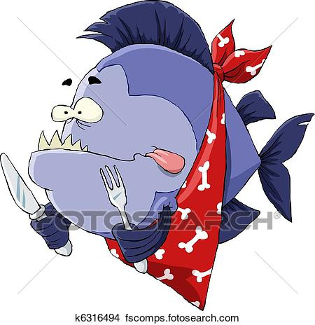 450x464 Clipart Of Hungry Piranha K6316494