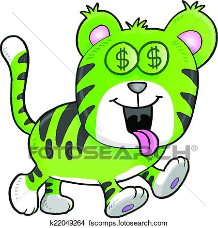 450x469 Clipart Of Money Hungry Tiger Vector K22049264