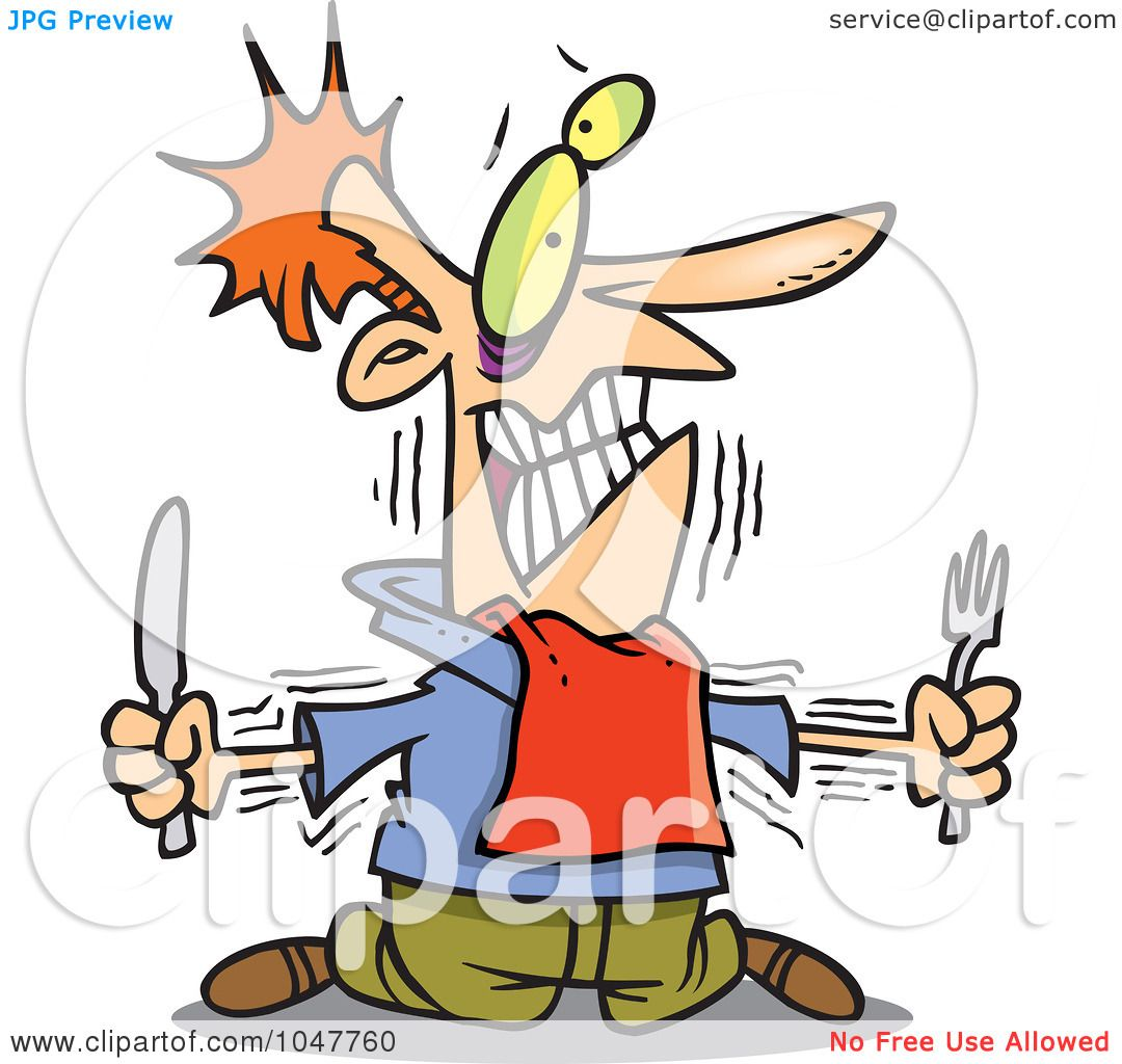 1080x1024 Royalty Free (RF) Clip Art Illustration of a Cartoon Hungry Man
