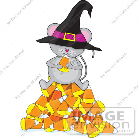 450x450 Clip Art Graphic of a Hungry Little Halloween Mouse Sitting On A