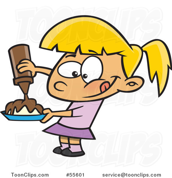 581x600 Cartoon Hungry Blond Girl Pouring Chocolate Syrup On Her Food