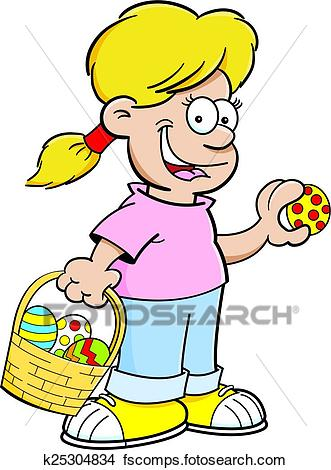 331x470 Clipart Of Cartoon Girl On An Easter Egg Hunt K25304834