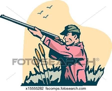 450x365 Clip Art Of Man Hunting X15555282
