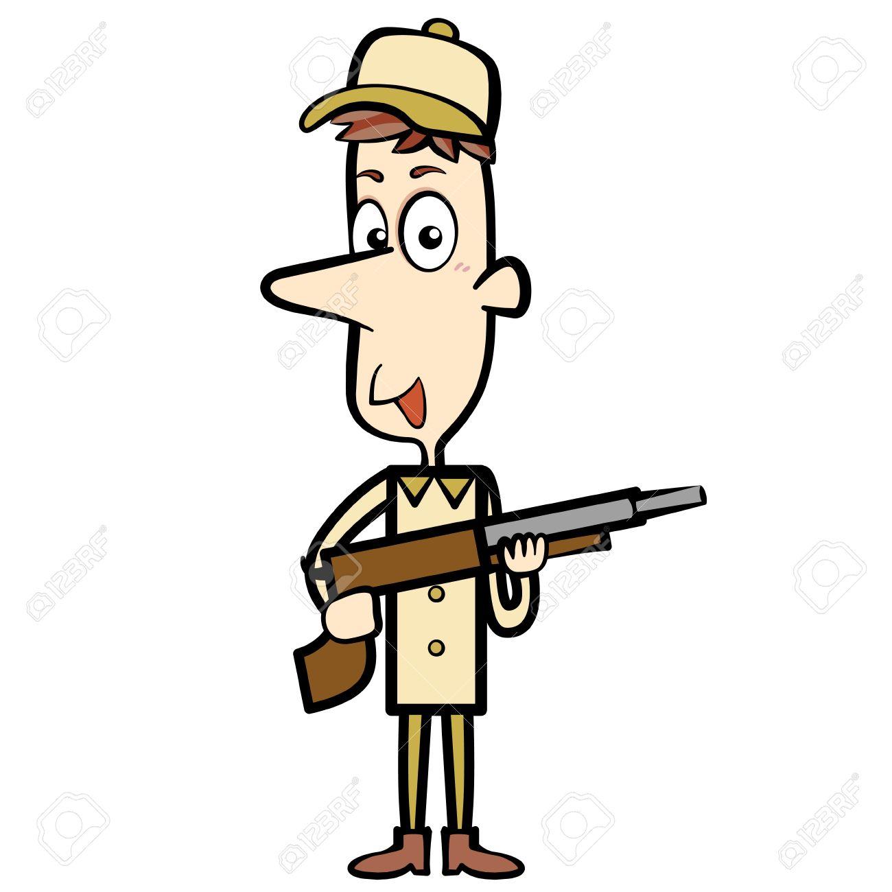1300x1300 Cartoon Hunter With A Shotgun Royalty Free Cliparts, Vectors,