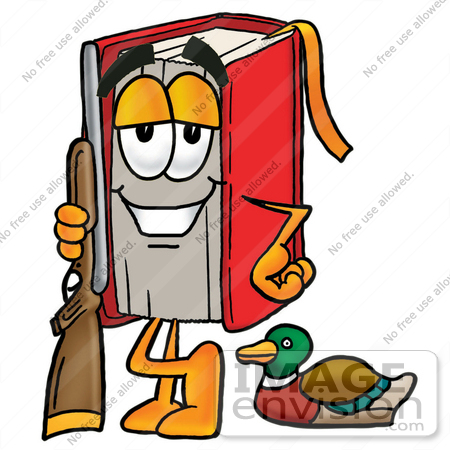 450x450 Clip Art Graphic Of A Book Cartoon Character Duck Hunting