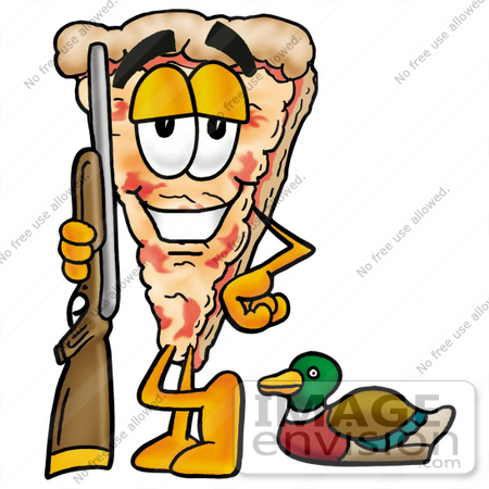 450x450 Clip Art Graphic Of A Cheese Pizza Slice Cartoon Character Duck