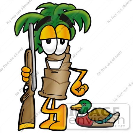 450x450 Clip Art Graphic Of A Tropical Palm Tree Cartoon Character Duck