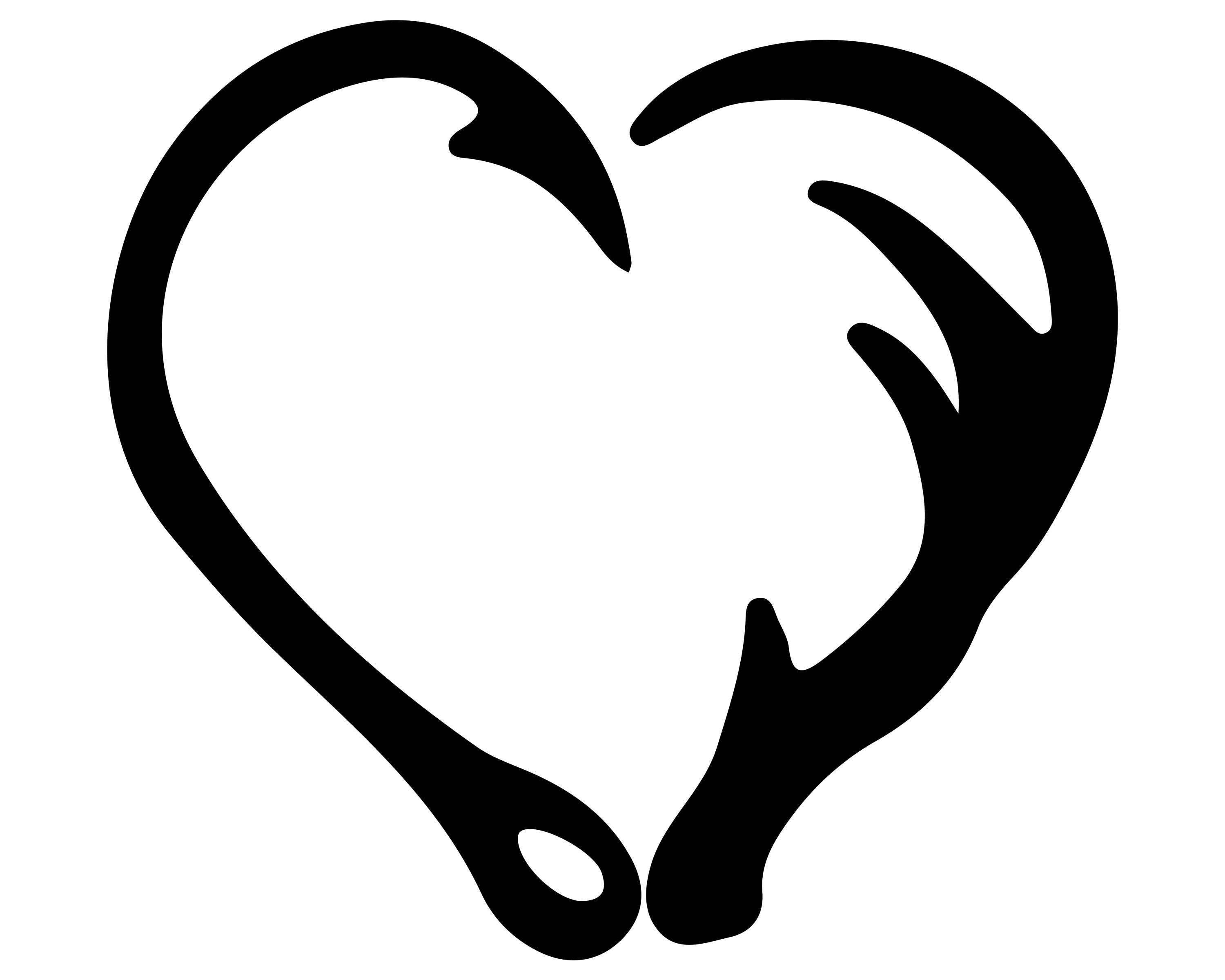 3000x2400 Fish Hook And Antler Heart Silhouette Clipart Png And Svg