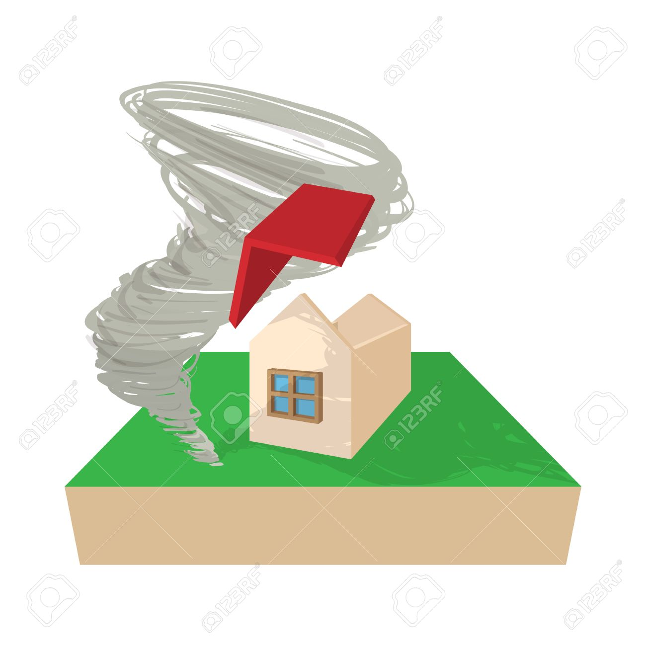 1300x1300 House Destroyed By Hurricane Icon In Cartoon Style On A White
