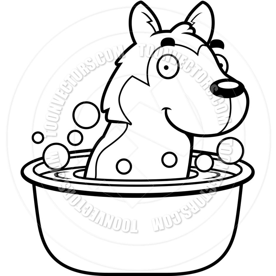 940x940 Cartoon Husky Dog Bath (Black And White Line Art) By Cory Thoman