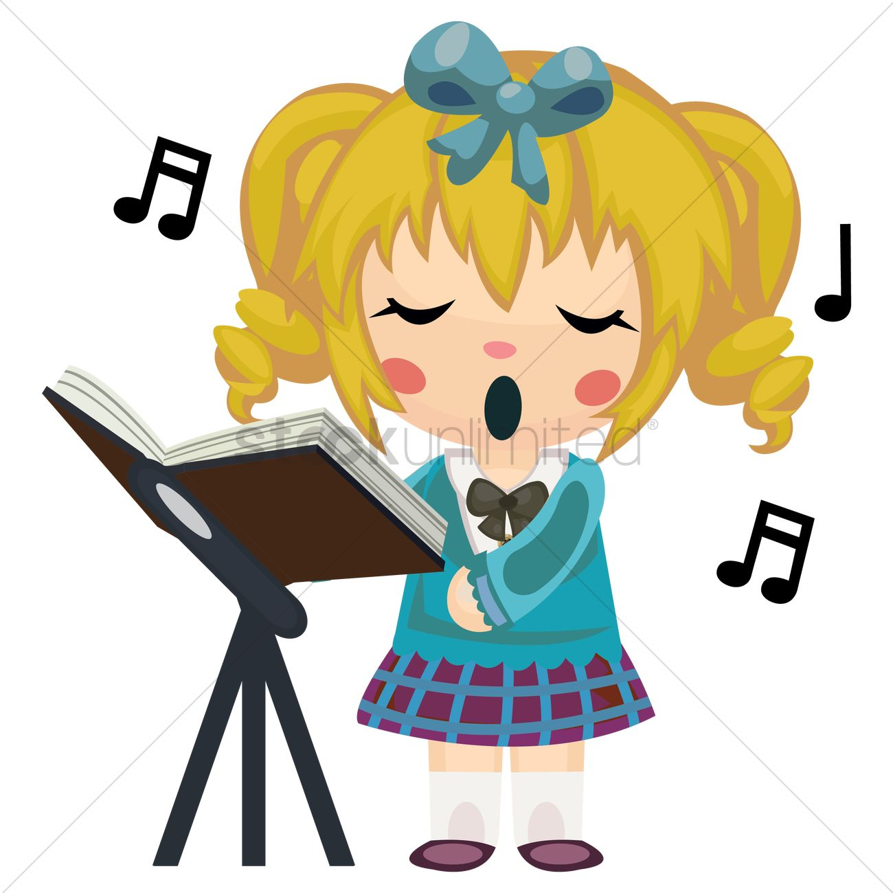 1300x1300 Girl Singing Song Vector Image