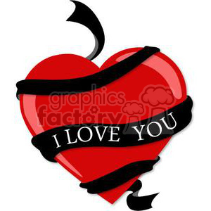 300x300 Royalty Free Red Heart With Black I Love You Ribbon 381688 Vector