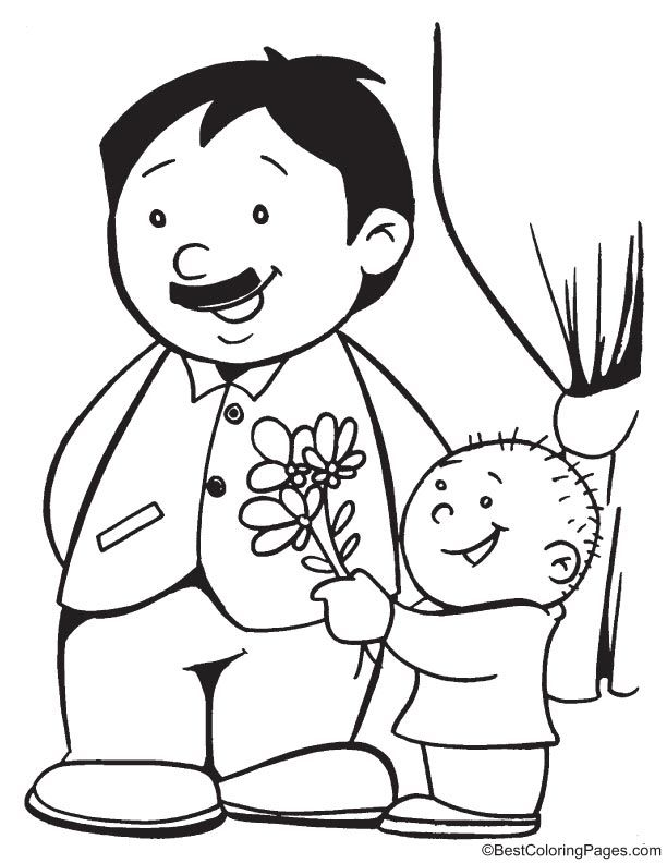 It is a photo of Vibrant I Love Daddy Coloring Page
