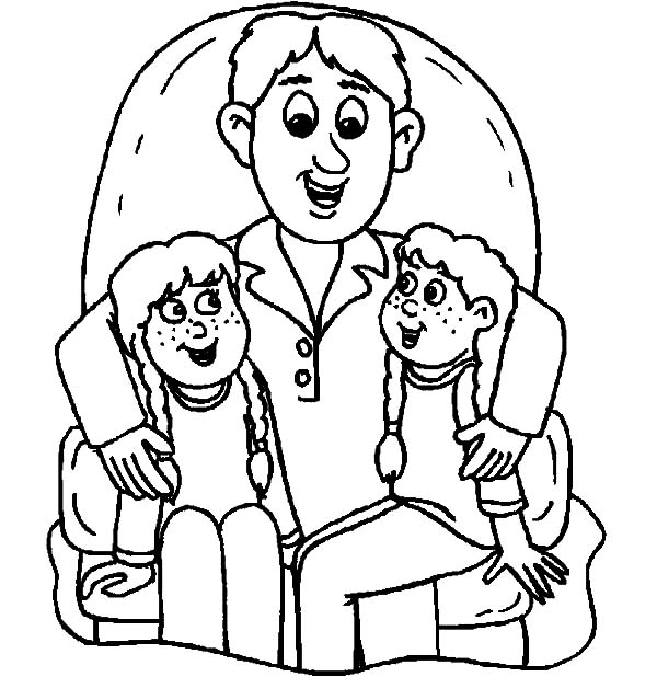 600x618 we sit on daddys lap i love dad coloring pages coloring sky - Dad Coloring Pages