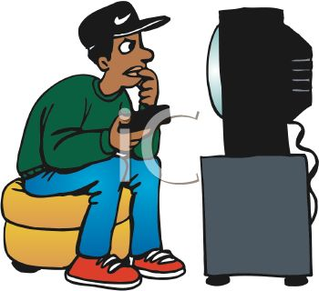 350x320 Boy Watching Tv Clipart