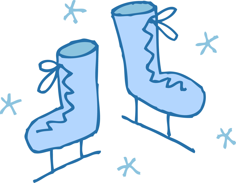 4919x3809 Cute Blue Ice Skates Clipart
