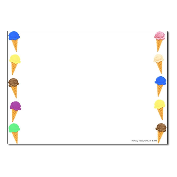 600x600 Ice Cream Landscape Page Borderwriting Frame (No Lines)