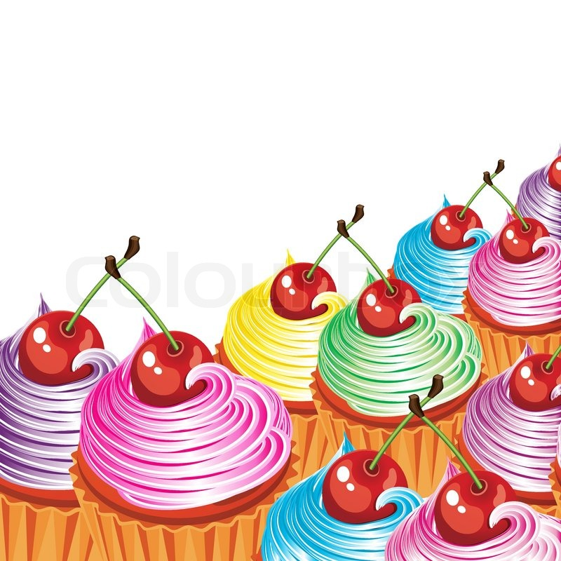 800x800 Border Of Cakes With Cream And Cherries. Stock Vector Colourbox