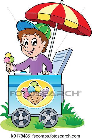 313x470 Clipart Of Happy Ice Cream Man K9178485
