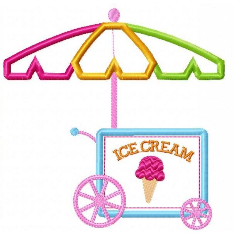 800x800 Ice Cream Cart Applique Design