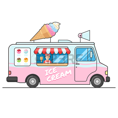 450x450 Ice Cream Truck, Side View. Seller Of Ice Cream In The Van. Ice